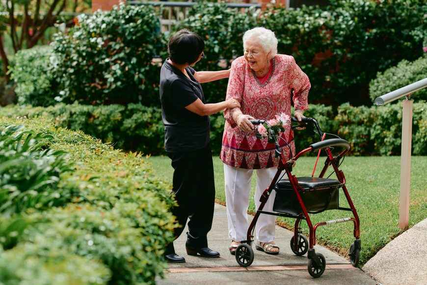 The beautiful gardens of Courtlands Aged Care in North Parramatta