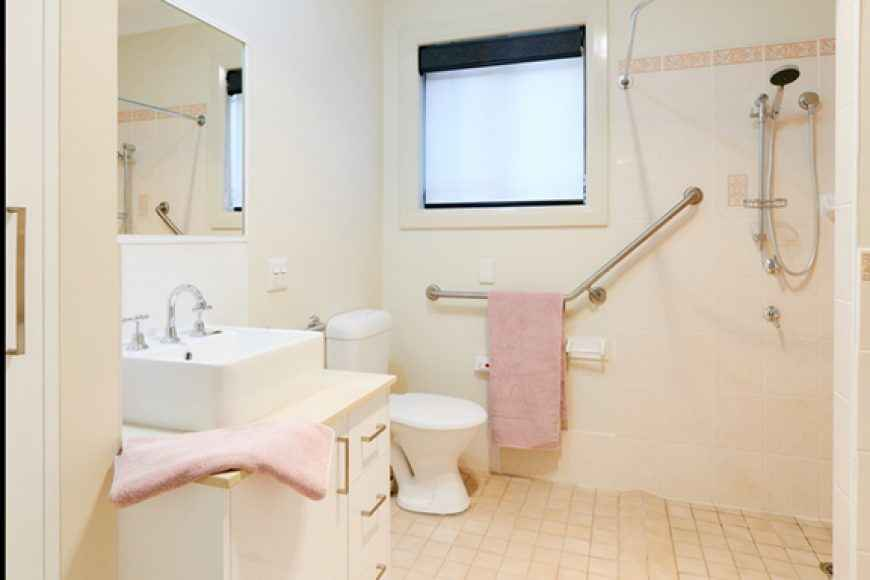 The bathroom in Westcourt Village's retirement units in Westmead.