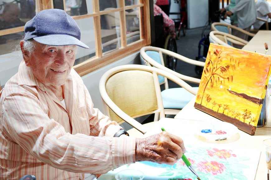 Art class at Casa Mia Aged Care in Padstow.