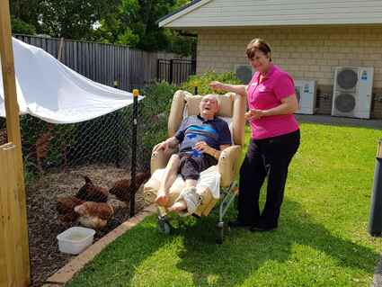 Gordon loved the chicken therapy program at Ridgeview Aged Care in Albion Park.