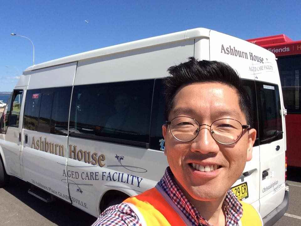 SeungJae volunteers as a bus driver at Ashburn House in Gladesville.