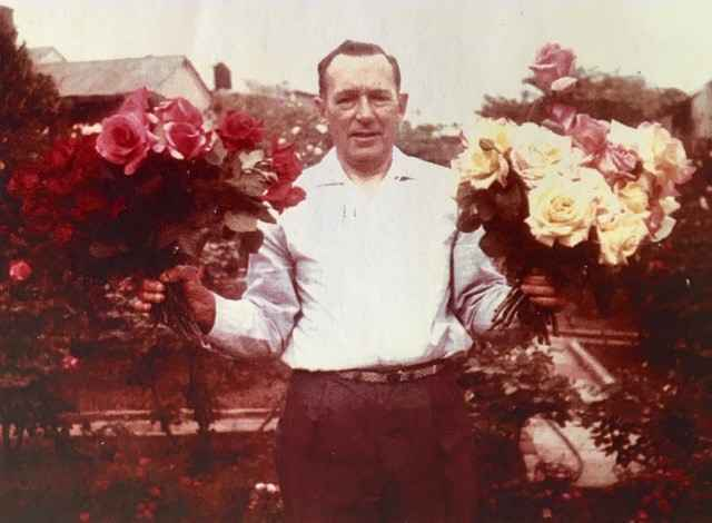 Ted with his roses.